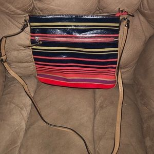 Striped cross-body bag